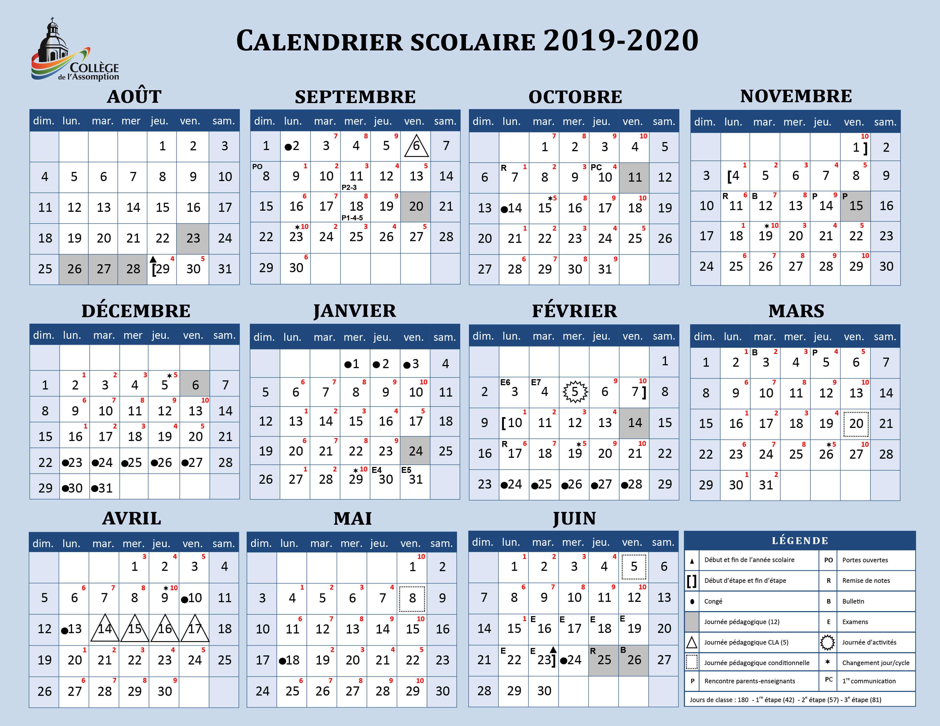 Calendrier Scolaire 2020 Et 2019.Calendrier Scolaire Et Grille Matieres College De L Assomption